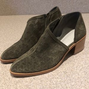 1. State olive green suede ankle booties size 7.5